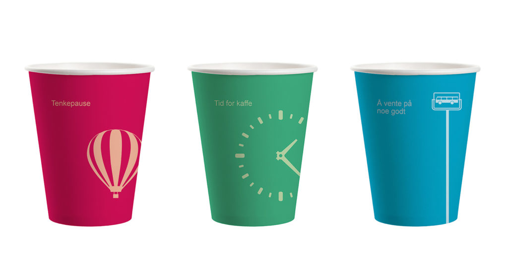 Disposable coffee cups visualised with sayings and illustrations relevant to coffee, waiting, travel