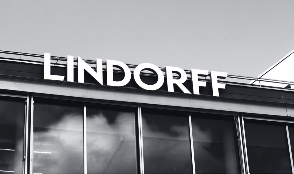 detail of Lindorff facade with sign