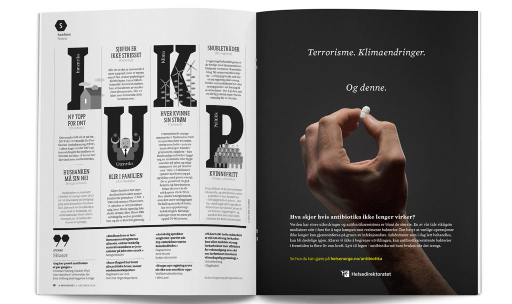 Magazine spread with whole page ad from Helsedirektoratet's campaign