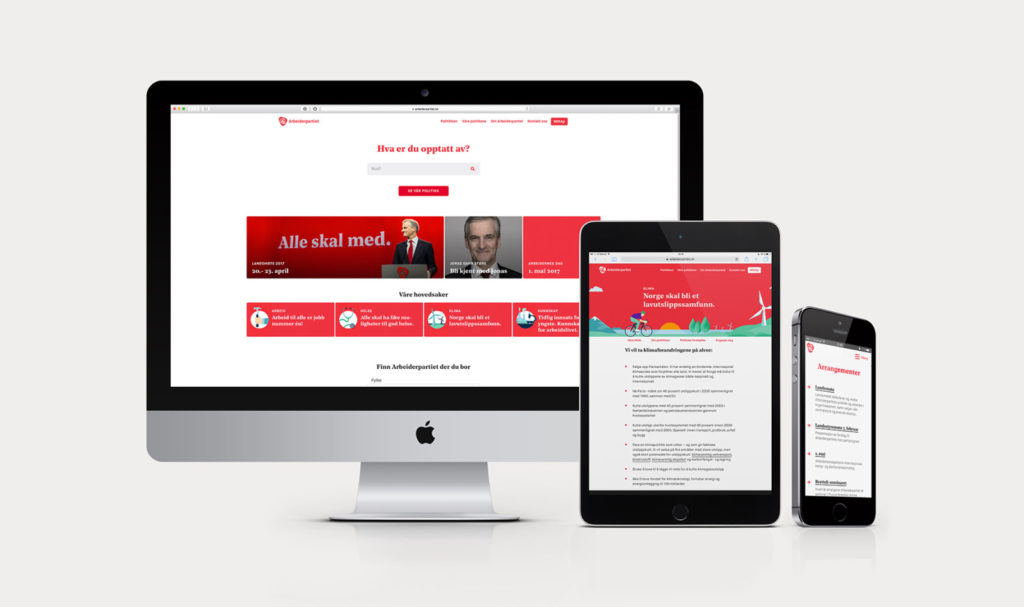 Screens from Arbeiderpartiet's website