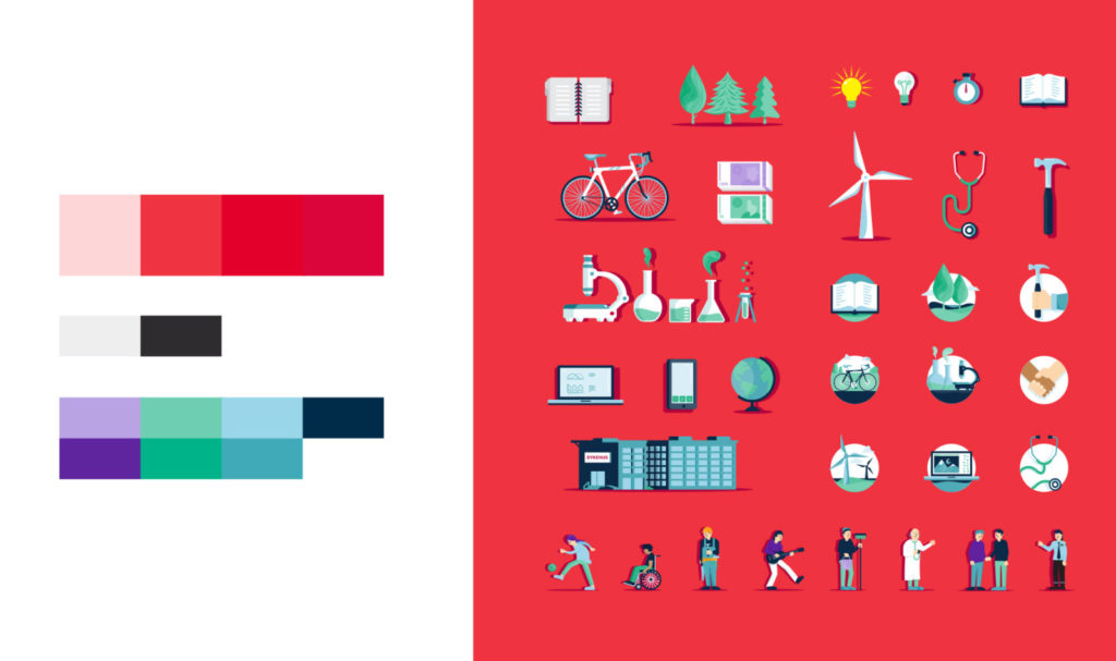 Colour swatches and illustrations for Arbeiderpartiet