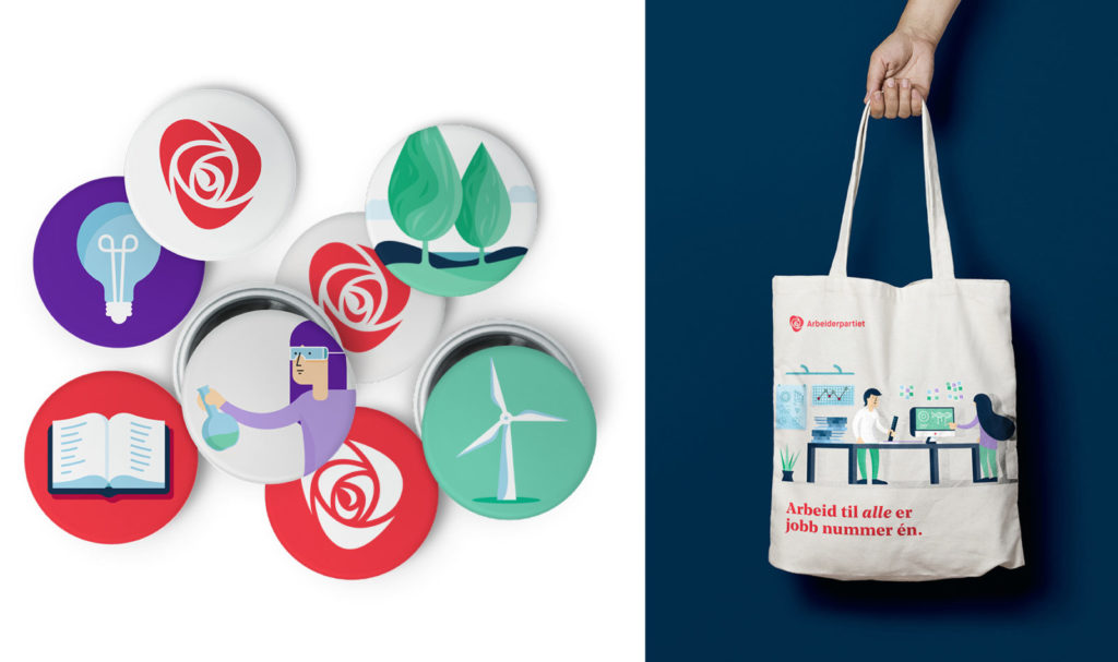 Graphics/branding for Arbeiderpartiet – buttons, totebag