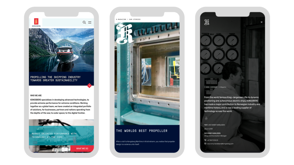 Mobile screens from the Kongsberg website