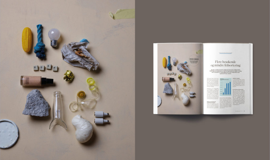 still life of bits of garbage, spread from ROAF's environmental report 2017
