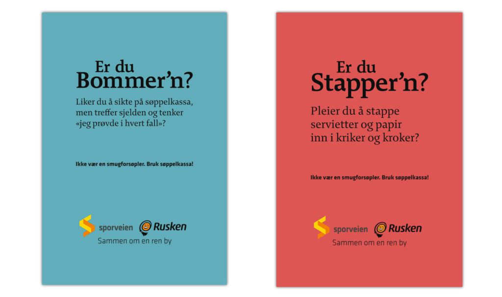 poster designs for Sporveien and Rusken's anti littering campaign