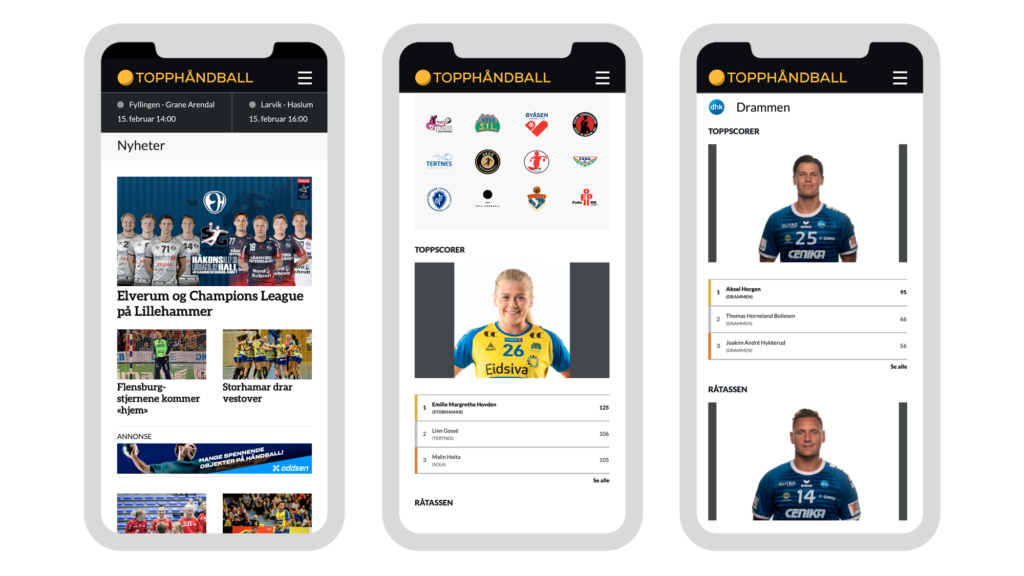 Mobile screens from the Norsk Topphåndball website