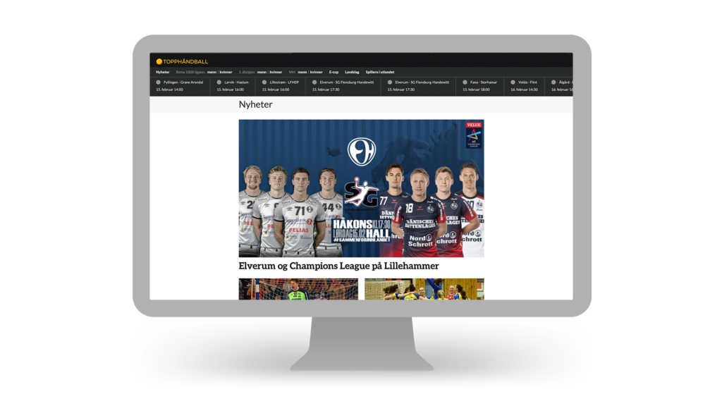 Screen from the Norsk Topphåndball website