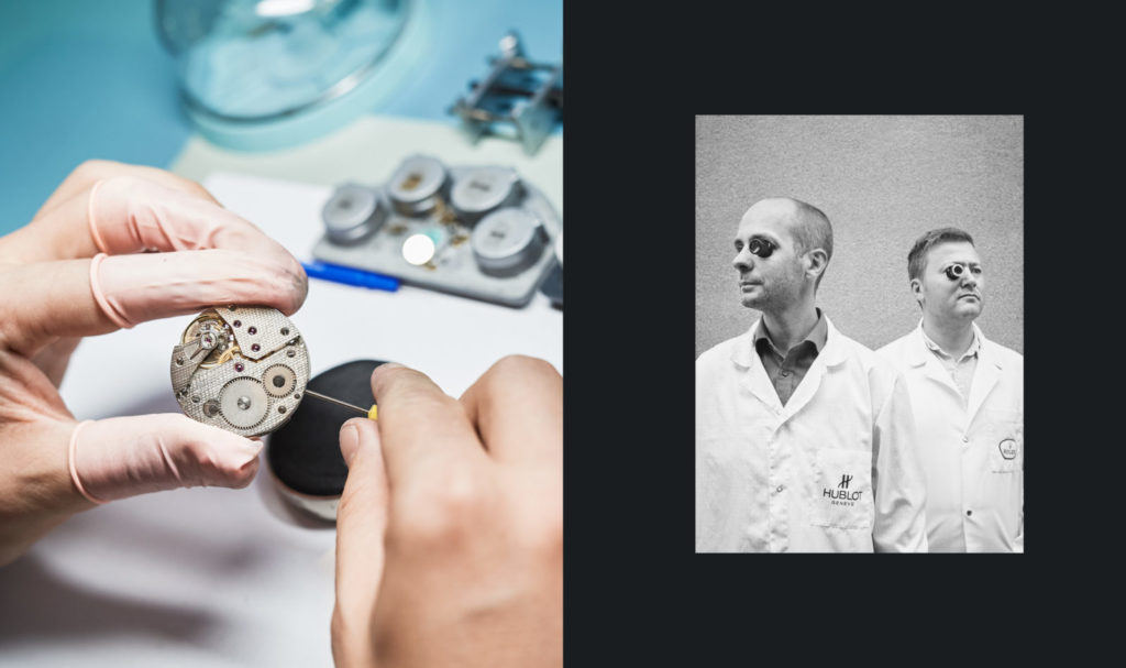 closeup of watchmaker's hands, working on a watch, portrait of two watchmakers in white lab coats