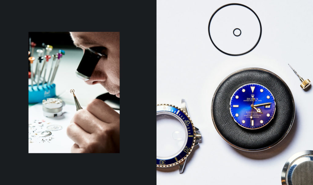 Watchmaker working, disassembled timepiece