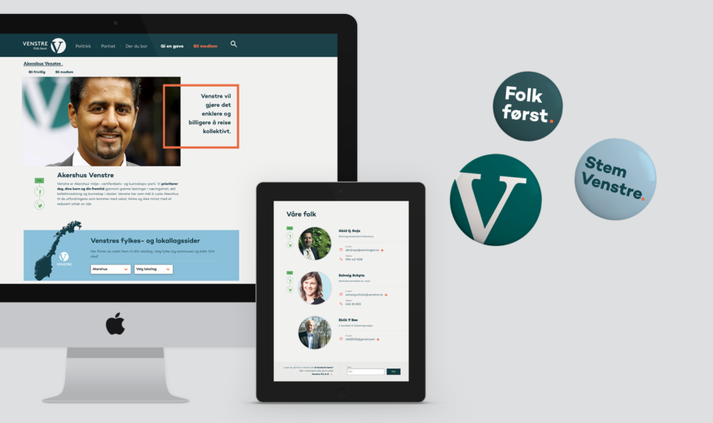 Screen and button mockups for Venstre