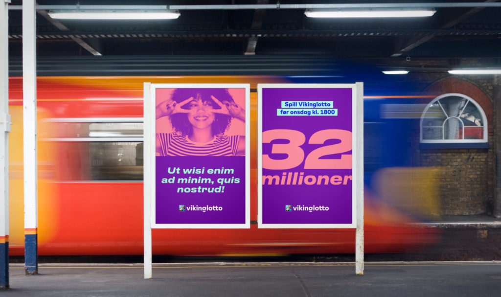 Branding poster designs for Vikinglotto, cleverly and undetectably added to a photo of poster cases on an underground platform